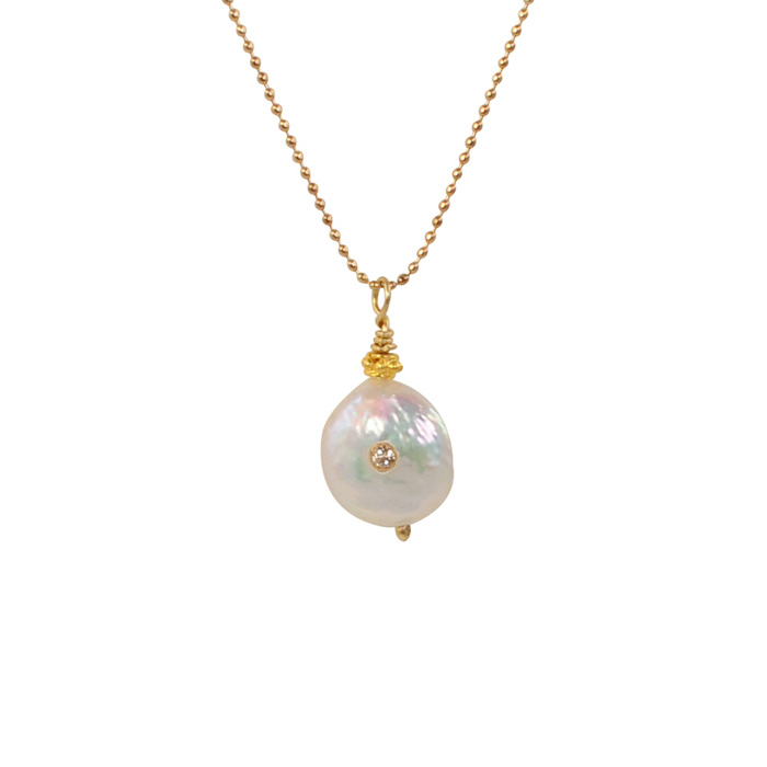 Coin Pearl with White Topaz Inlay