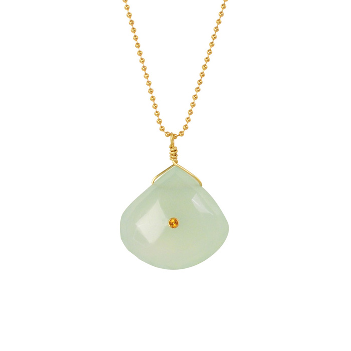 Green Chalcedony with Citrine Inlay