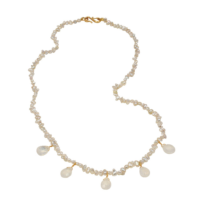 Keishi Pearls with Moonstones