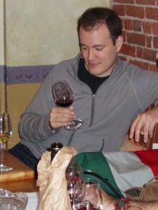 BSS member assesses color of wine during weekly blind tasting session