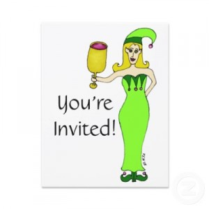 Holiday wine invite (Thanks, Zazzle! http://www.zazzle.ca/wine_elf_holiday_party_invitation-161170022124402158)