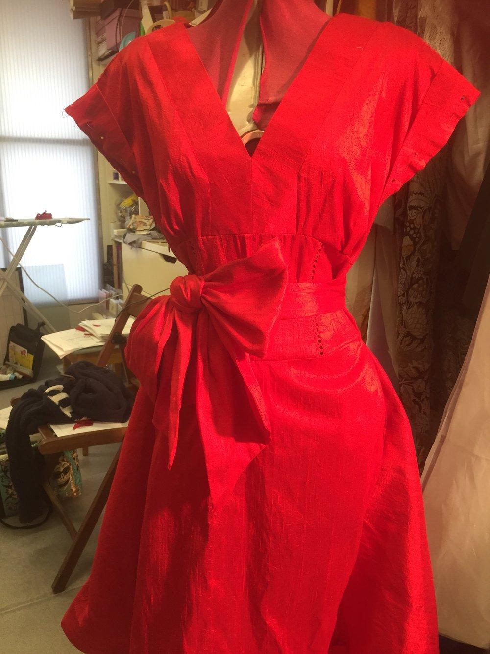 handmade red silk dress