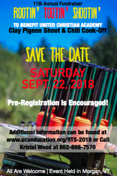 Event Details - The 2018 registration fee is $50 and we are encouraging pre-registration. Clay Shoot:  Participants shoot 25 clays and score according to how many they hit.  Shooters who hit 20 or more clays are entered in a prize drawing.22 Shoot – Two Age Categories, 13+ and 12 & Under: 5 shots, using a furnished 22 rifle, at a standard target.  Winner of each category receives a $25 Gift Certificate to Wright's Sporting Goods.Double Shoot:  Tickets are available at the launching station for $10. Additional attempts can be purchased for an additional $10 each.If both clays are hit, shooter will be entered in a prize drawing.Chili Cook-Off:  All registered shooters will also be part of the judging panel and the ticket provided at registration will entitle participants to a bowl of chili, a hot dog and a drink.  Spectators are able to purchase lunch at $5 per ticket.Links below can be used to register online, sponsor a shooter, download needed forms or the sponsorship request letter.