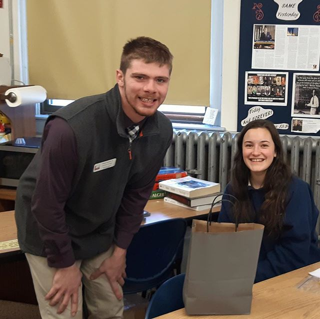 Mr. Shawn Russell, admissions counselor at the University of Maine at Farmington, stopped by Monday with swag from the university for Erin Starr who was accepted into U Maine. It was a pleasant surprise!  #ucacrusaders @umainefarmington #collegebound #senioryear