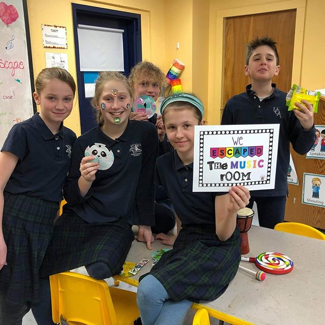 The sixth graders have been working hard for weeks to learn their keys in music theory and received a music escape room day as a reward.  #ucacrusaders #handsonlearning #musicisfun