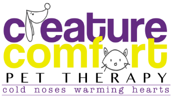 Creature Comfort Pet Therapy has certified more than 160 pet therapy teams.  Though the majority of pet team members are dogs, two rabbits, a cat, a potbelly pig and a mini horse have also been certified to share their love by visiting people in need of comfort or therapy.