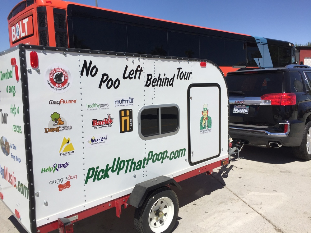 Chad Logan's No Poop Left Behind Tour Trailer which was purchased with help from sponsors such as Help Bags, Dawg Tree, Healthy Paws and more.