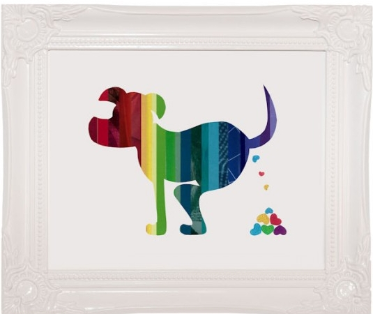 Here is one of many images created by Erin Moffatt for her company, Poop Heart.  This particular image is of a dog pooping.  He is pooping colorful hearts.  And his body is in gorgeous rainbow colors as well.