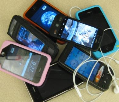 cellphone pile