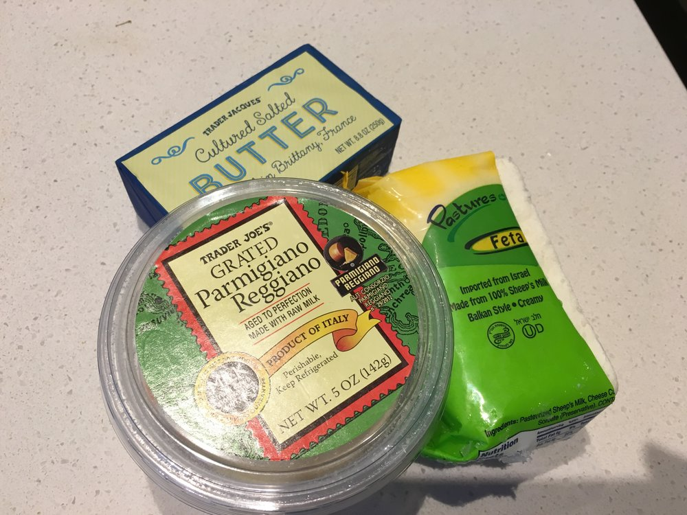 butter from France, cow milk from Italy, sheep cheese from Israel
