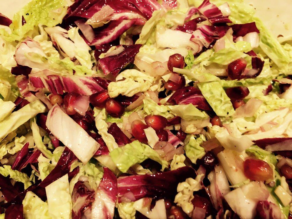 Salad of Asian Napa cabbage, Italian radicchio and North African pomegranates