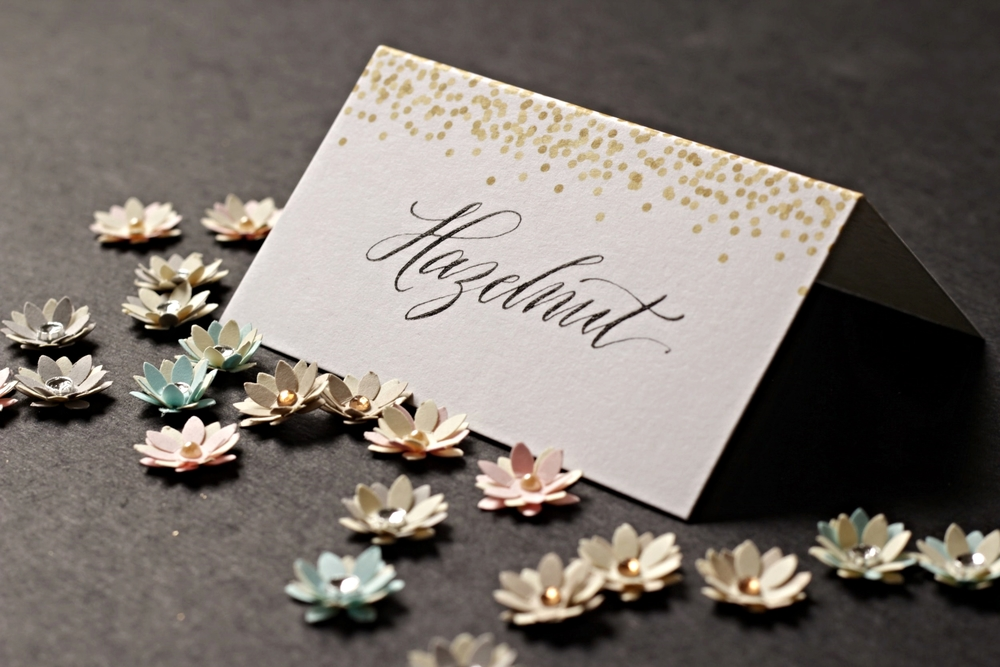 Calligraphy and paper flowers