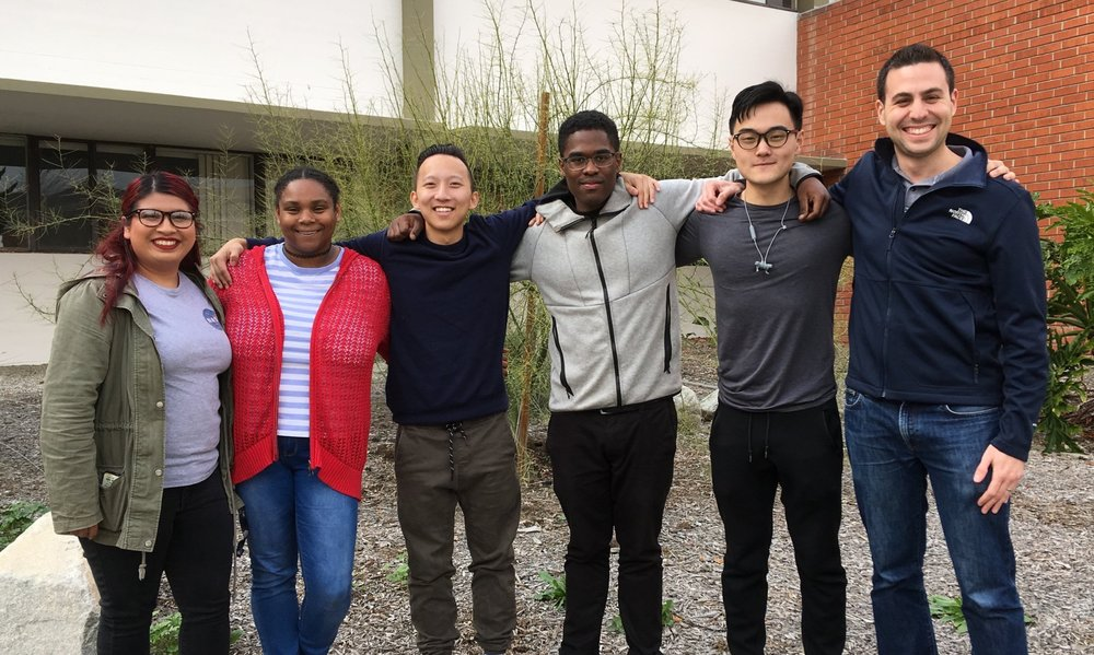 Nerenberg group in March 2019!   Pictured (L-R/shortest-tallest): Cindy Garcia, Nia Huggins, Kevin Mai, Frederick Wade, Alex Zhou, and PSN. [Not pictured: Gabe Lucero and Vinh Ngo.]