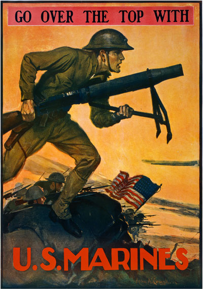 - Starting out, I really wanted to emulate an inspirational Marine Corps war propaganda poster that featured a Marine charging over the hill with a mortar gun painted by John A. Coughlin. It's such a powerful image. I love the silhouette and action within this shot.