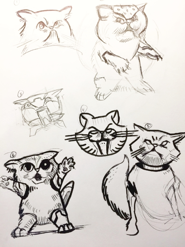 First crack - Here is the very first go at it mixing feline and robot/cyborg properties to her. You have to start somewhere. I'm exploring the Persian kitten because of the well defined face features. They're adorable kittens and well renown.