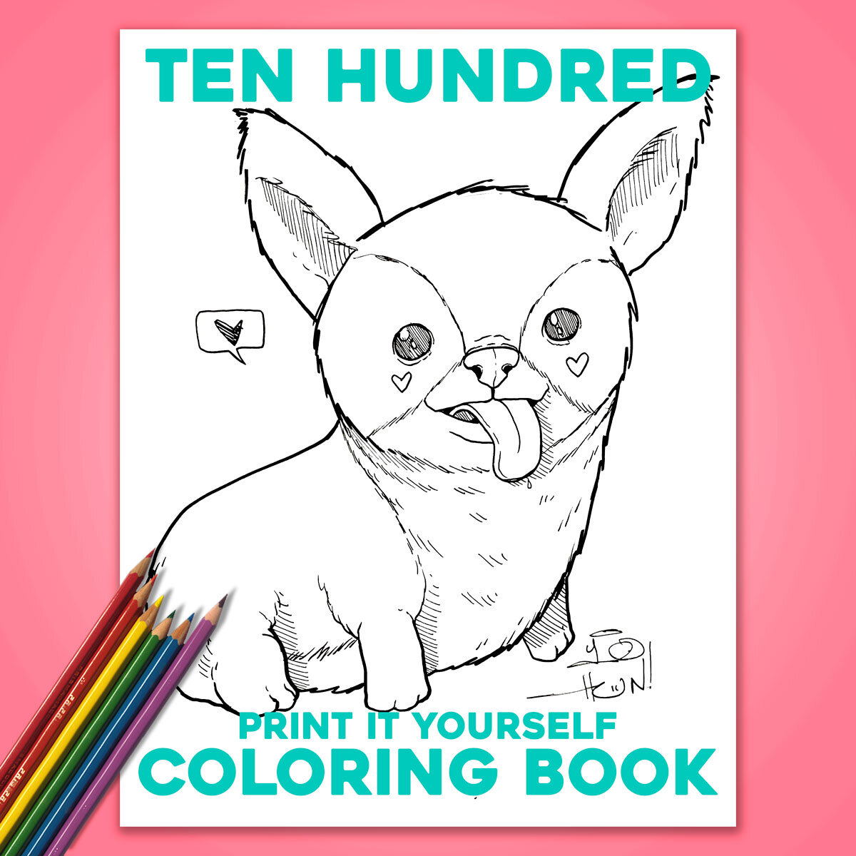 Coloring Book Free Print It Yourself Digital Download Ten Hundred
