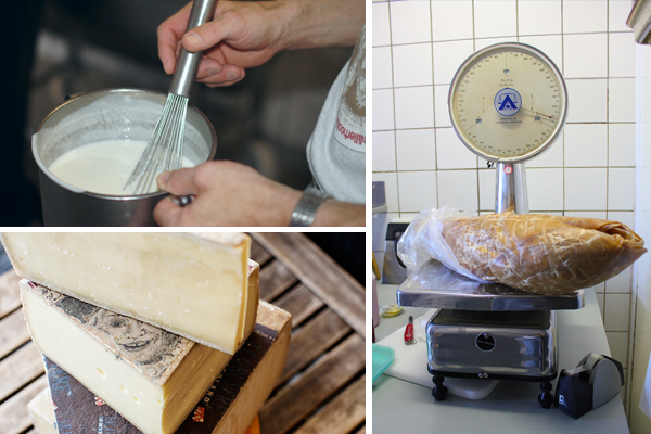 Walter Rass mixing house-made starter / Calf rennet (a whole stomach!) / Challerhocker and other Alpine cheeses