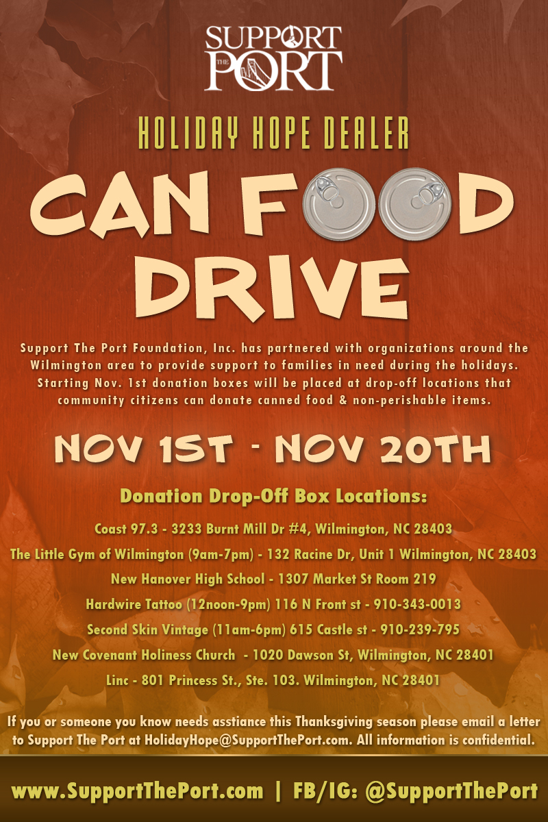 Holiday Hope Dealer Can Food/Toy Drive — Support The Port