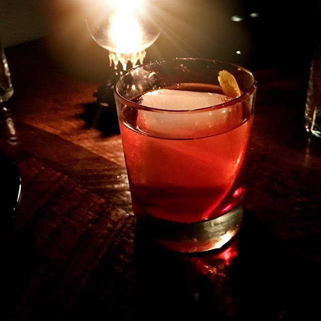 Barrel aged Negroni. On tap now.  #negroni #mezcal #bourbonbarrel #barrelaged #cocktailsontap #craftcocktails #scratchcocktails #kalamazoo #downtownkalamazoo #drinklocal #campari