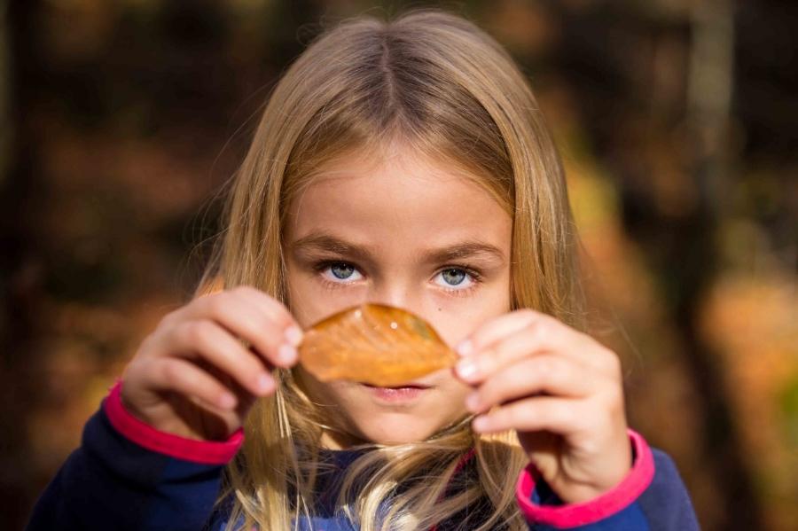 Little girl at fall
