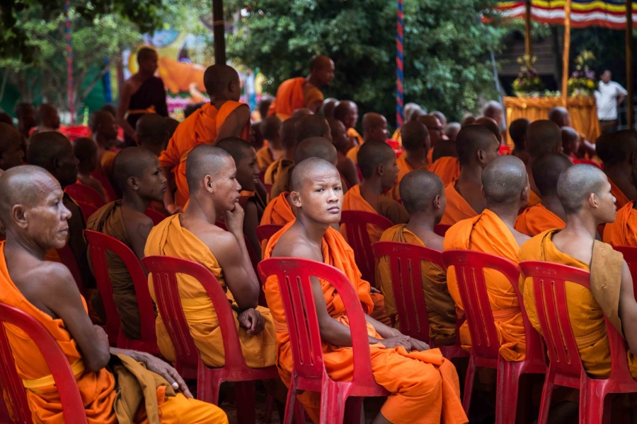 Buddhist monks in a meeting