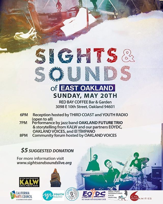 This Sunday join us for #SightsandSounds! Red Bay Coffee will host the East Oakland version starting at 6pm. Come show them how we do it on the East side of #ThaTown - 3098 E. 10th Street - $5. Don't be late! We're the opening act for #OaklandVoices, #EDOYC, #KALW and #ElTimpano. #OFT3