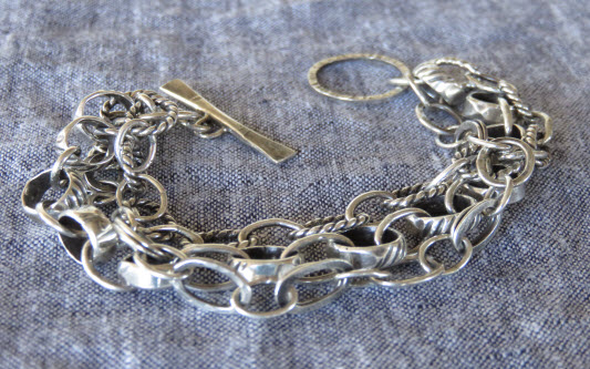 Oxidized sterling multi-chain bracelet