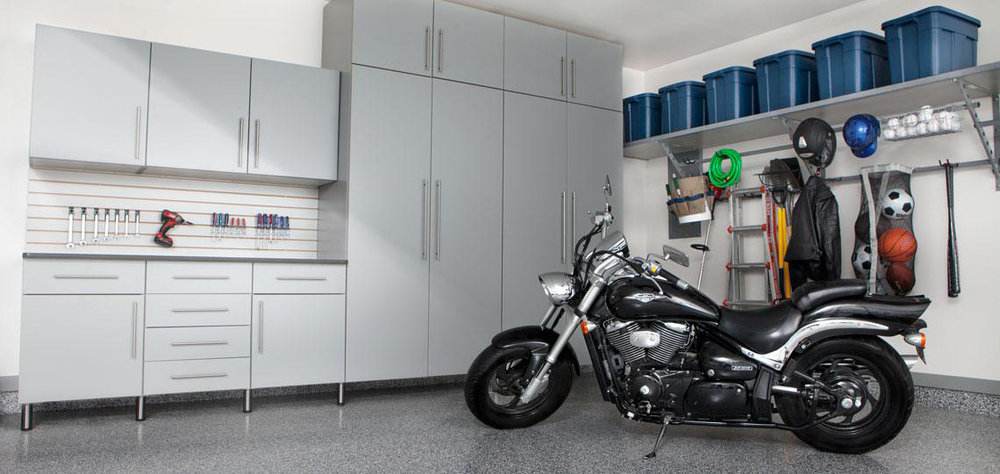 Garage Storage & Customization - Transform your garage into a clean and organized work room. Kooler offers full garage storage plans including durable floors, shelving, racks & more. For garages and the mud room!