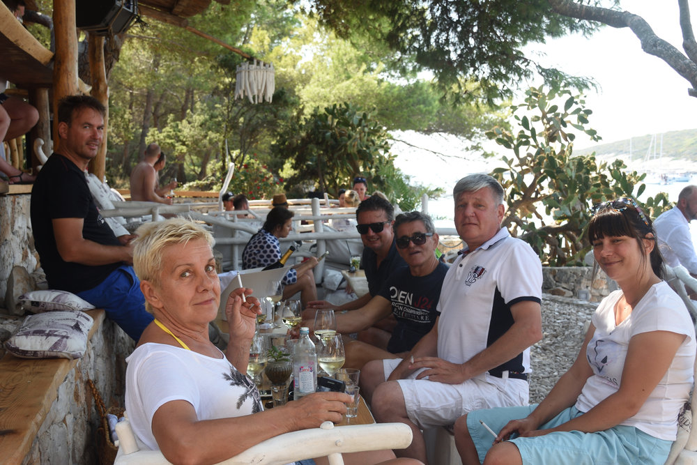 The gang at Laganini Lounge Bar Palmizana Harbour, Paklinski Island, Croatia 2016