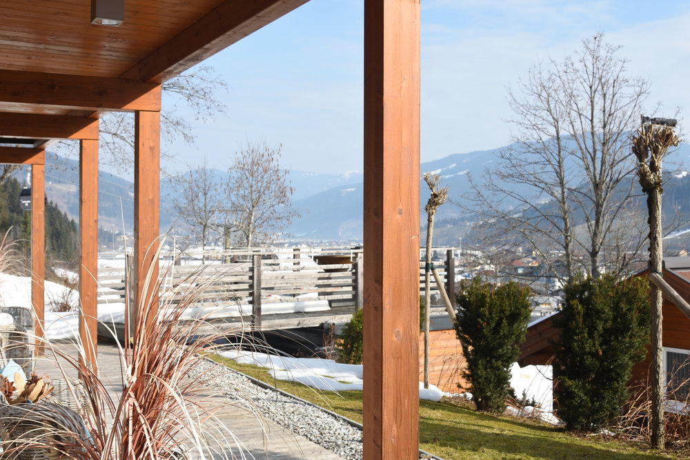 Our terrace with view over the mountains and ski slope