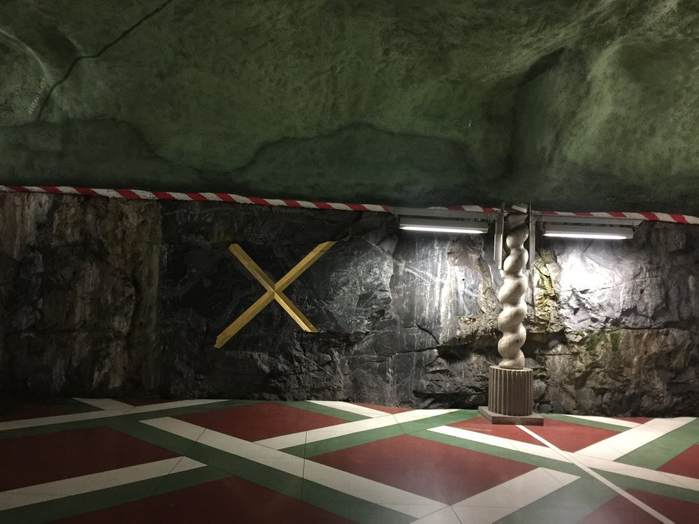Entrance underground, blue line, Kungsträdgården, Stockholm 2017