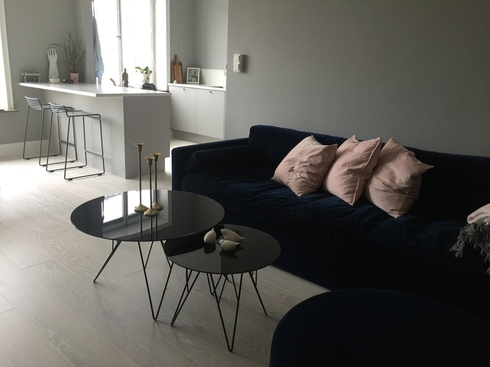 Part of the kitchen and living room. Sofa and pouf from Melimeli, August 2017