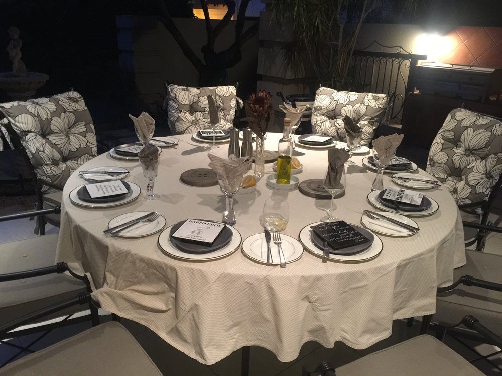 Dinner at Lavita and Sandi's house, Johannesburg, South Africa, September 2017