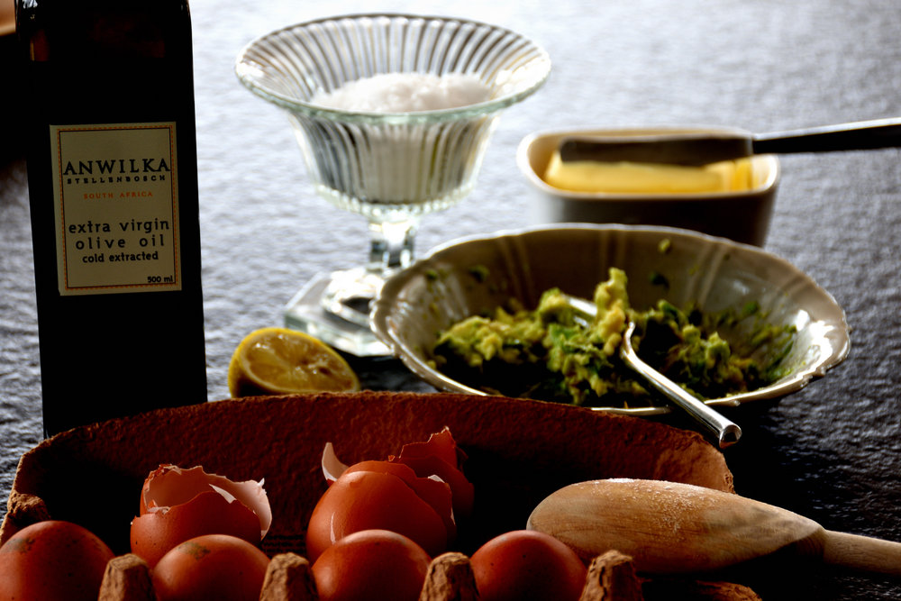 Olive Oil from Stellenbosch, South Africa and Organice farm eggs from our local farmer.