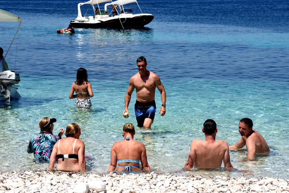 Swimming with friends. Korcula Island, 2018