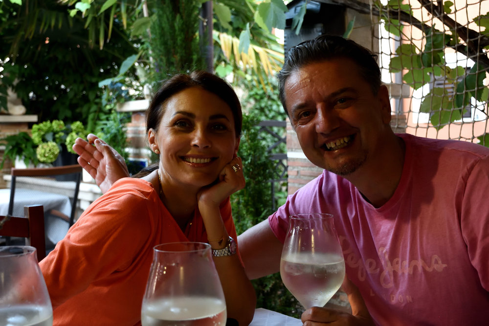 My dear Puff aka Jelena and my husband. At one of our favorit restaurants in Porec. 2018
