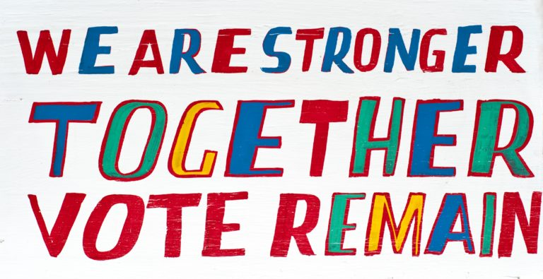 Poster design for Britain Stronger In by Bob and Roberta Smith