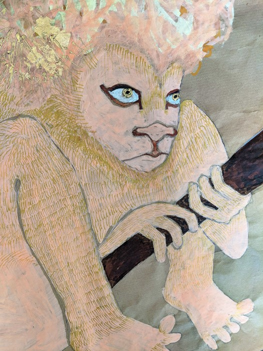 Jesse Darling  Lion in wait for Jerome and his medical kit,  detail  © Jesse Darling 2018