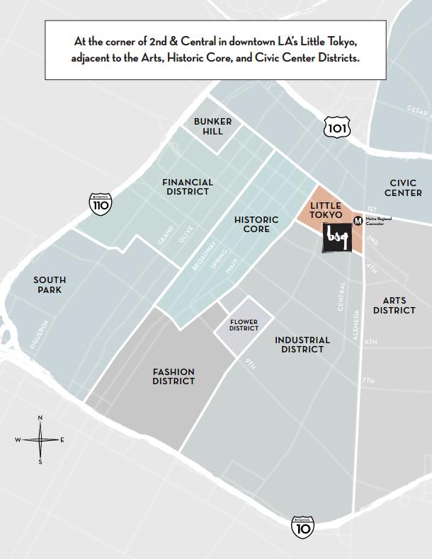 Map of Little Tokyo and surrounding DTLA neighborhoods