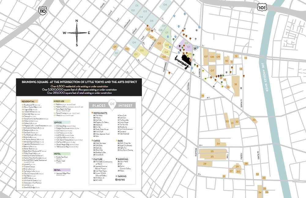 Map of Little Tokyo/Arts District featuring list of residences and businesses