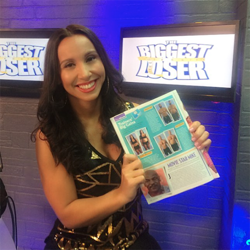 Fallon shows her article in US Weekly
