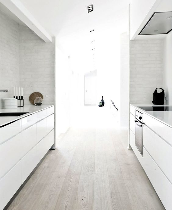White gloss cabinets with matching finger pulls.