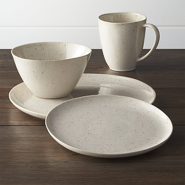 Wilder Dinnerware , $40.95 for a 4 piece place setting at  Crate&Barrel . What I like about this set is it looks organic and earthy and comes in a beautiful neutral color. The mug is a larger, more practical size than most dinnerware sets out there.