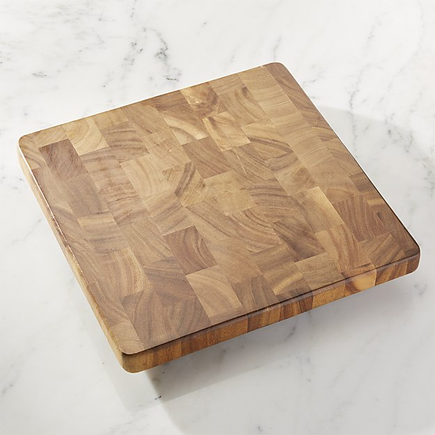 Square End Grain Cutting Board  is a perfect size for chopping or using as a cheese board. I like that it is thick and made of end grain which will make it stronger and last longer. In the store the wood looked dark and rich like a walnut, which is my favorite wood species.