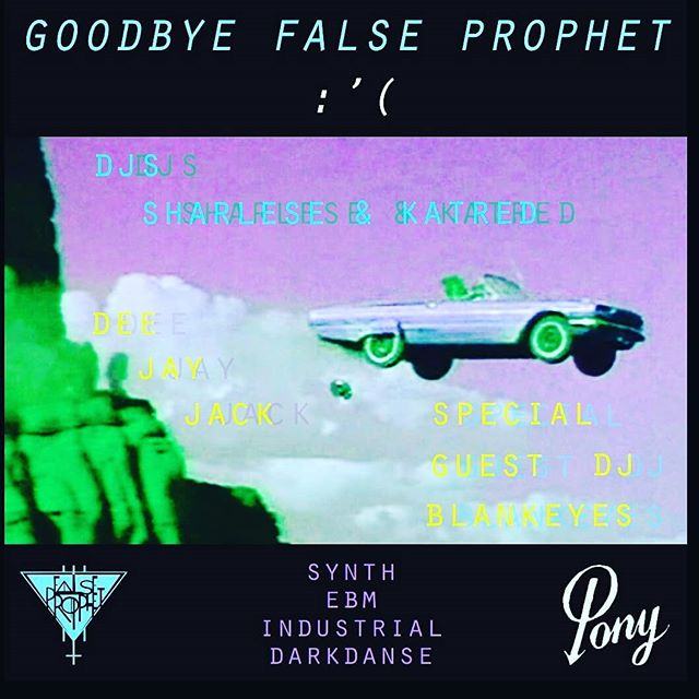 Well friends, it's been such a blast coming together with all of you to host a whole bunch of our favorite bands and DJS but after five incredible years, False Prophet is sadly about to draw to a close. @kateisenough is moving to the East Coast in a few weeks and @sh6rl6s6 is moving on to new, exciting projects (TBA). We want to give our thanks by throwing you one more epic dance party at the place we got this whole thing started: PONY! This Saturday at 9pm! Come for the music and stay for the hugs. We've got lots to go around.  The wonderful DEE JAY JACK will be spinning with us and our special guest will be DJ BLANKEYES!  NO COVER ♥ ♥ ♥ ♥  #synth #coldwave #ebm #electronic #darkdanse #industrial #ponyseattle #falseprophetseattle