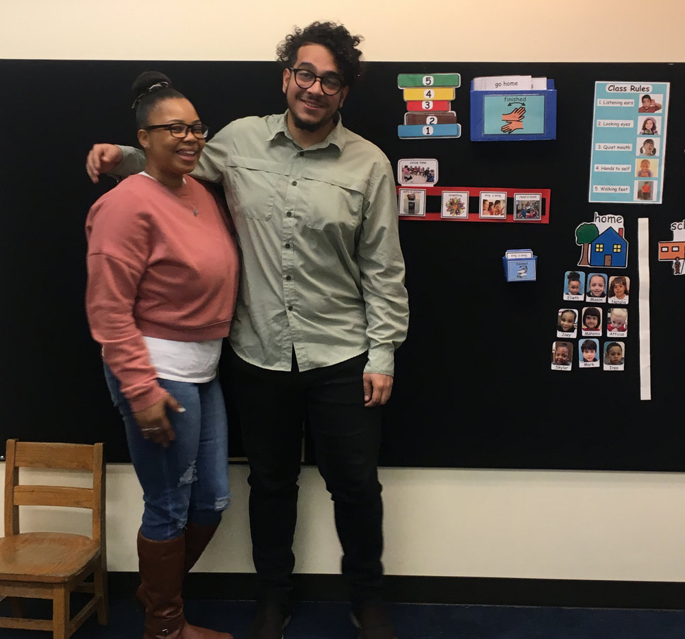 "Brian and Teacher Assistant Keisha wish that all the classrooms could look like this. ""Our neighbors are jealous!"""