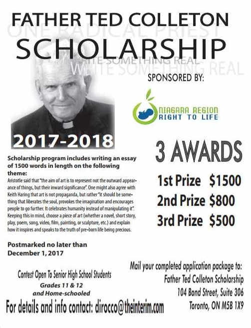 father ted colleton scholarship st catharines right to life