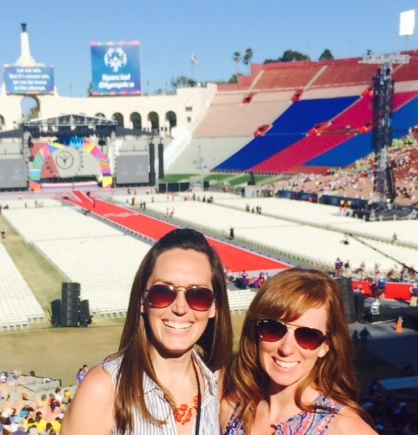 Erin and Jessi at the 2015 World Special Olympics in LA, for the Miss Amazing national event.