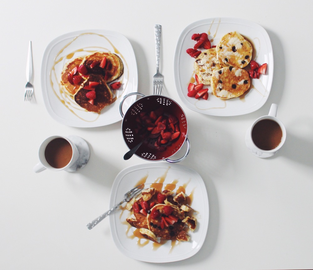 After a bit of lounging and getting excited about our day full of, well....nothing - we feasted. Michael made us a dreamy breakfast of fruit covered chocolate chip pancakes. Oh, and of course, more coffee.