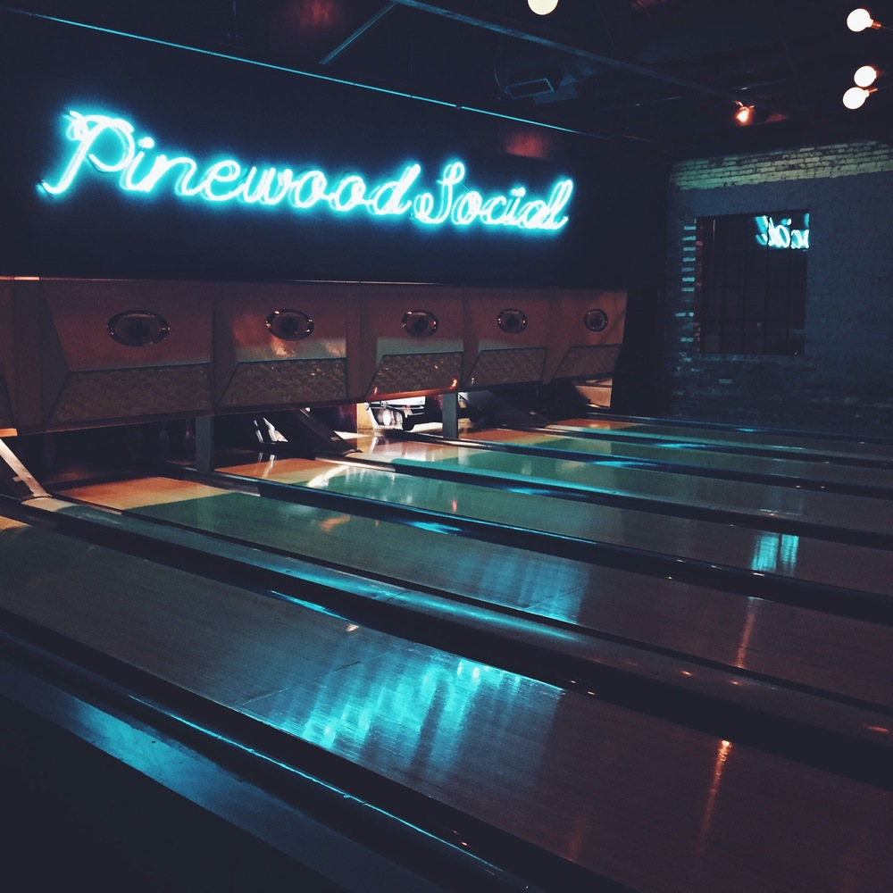 pinewood social, where you can dine but also bowl.